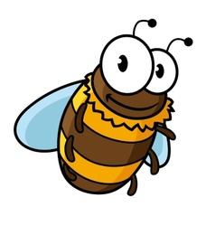 Happy flying cartoon bumble or honey bee vector image