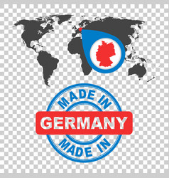 Made in germany stamp world map with red country vector