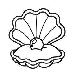 Scallop seashell with pearl vector