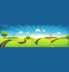 spring rounded landscape with road and rising sun vector image vector image