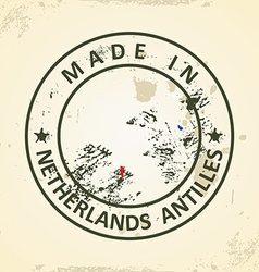 Stamp with map flag of Netherlands Antilles vector image