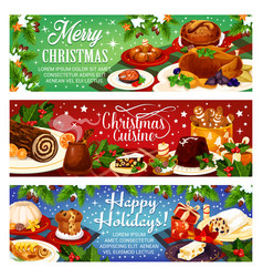Christmas dinner greeting banners vector