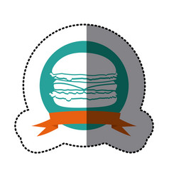 emblem hamburger fast food icon vector image vector image