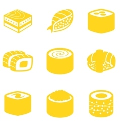 Orange sushi icon set vector image