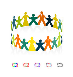 paper men women and children holding hands in the vector image