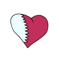 qatar isolated heart flag on white background vector image vector image
