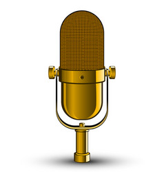 realistic isolated image of golden microphone vector image