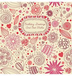 Retro Floral Birthday Card vector image vector image