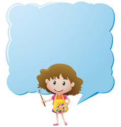 Border template with girl and paintbrush vector