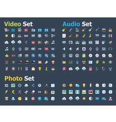 Photo video and audio icon set vector image vector image
