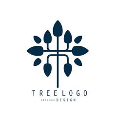 tree logo original design blue eco bio badge vector image