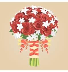 Wedding bouquet of red roses vector image vector image