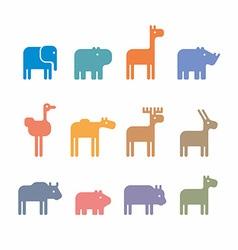 Animals set silhouette vector