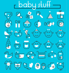 Baby stuff linear icons collection vector
