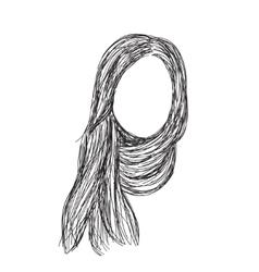Hand drawn wig Hair sketch vector image vector image