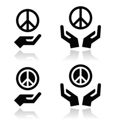 Peace sign with hands icons set vector