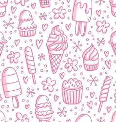 Pink ice cream seamless pattern vector image