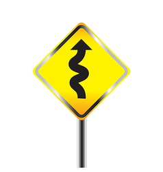 Traffic sign with winding road vector image vector image