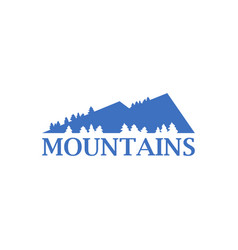 abstract blue mountains with spruce trees icon vector image
