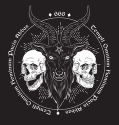 Baphomet demon goat head hand drawn print or vector