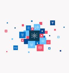 Big data infographic 10 steps pixel design vector