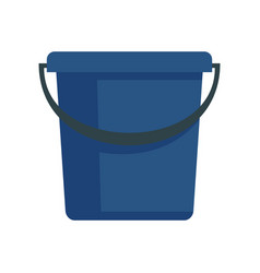 Blue bucket icon in flat style vector