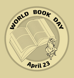 Book rose and text word book day april 23 vector