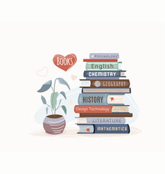 book stack textbooks for academic study vector image