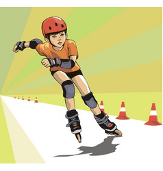 boy runs a roller skatecross vector image
