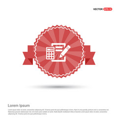 Calculation icon - red ribbon banner vector