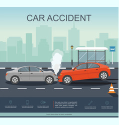 Car accident on the road vector