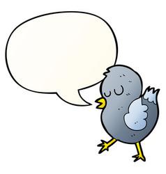 cartoon bird and speech bubble in smooth gradient vector image