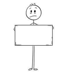 cartoon of sad man holding empty or blank sign vector image