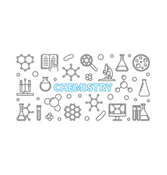 chemistry horizontal linear banner or vector image