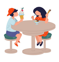 Children eating ice cream in cafe boy and girl vector