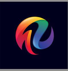 colorful ribbon 3d abstract logo vector image