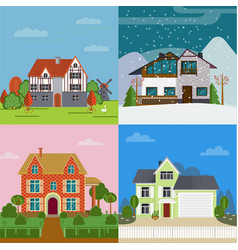 colorful suburban cottages flat concept vector image