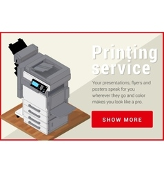 Copier printer isometric flat 3d vector image