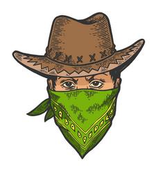 Cowboy head bandit mask bandana sketch engraving vector
