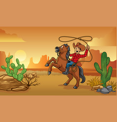 Cowboy riding horse in desert vector