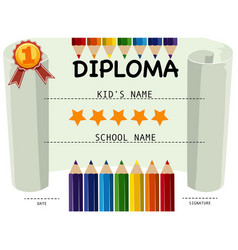 Diploma certificate with pencils and stars vector