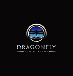 dragonfly photography with sky horizon logo symbol vector image