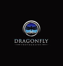 Dragonfly photography with sky horizon logo symbol vector