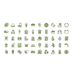 Environment ecology icons collection line and fill vector