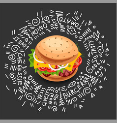 fast food burger icon isolated on black vector image