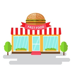 Fast food shop of flat style building vector