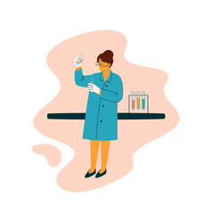 Female scientist technician character wearing blue vector