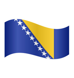 Flag of bosnia and herzegovina wavy white backdrop vector