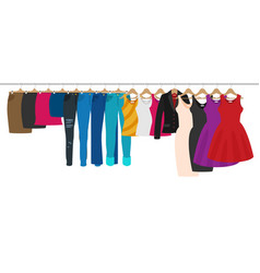 Flat racks with clothes on hangers girl shopping vector