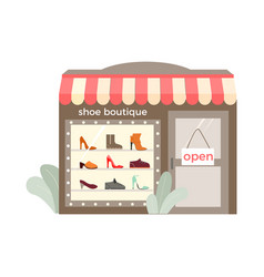Footwear shop storefront composition vector